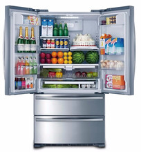 Large stainless steel double door home refrigerator with freezer 110V 60HZ