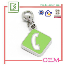 Phone Icon Shape Zinc Alloy Charms and Pendants with Lobster