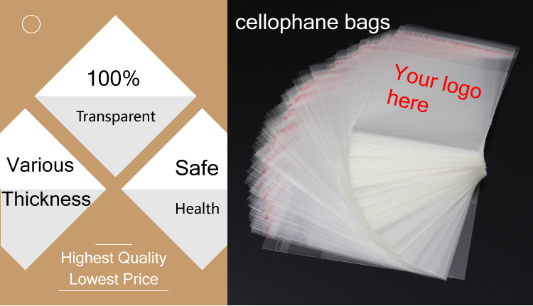 transparent self adhesive polypropylene printing clear cellophane bags