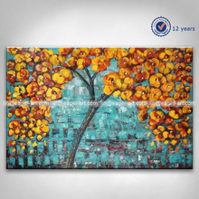 Wholesale High Quality Handmade Canvas Modern Palette Knife Abstract Tree Flower Oil Painting