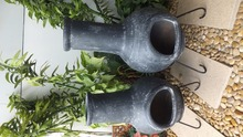 Mexican clay chiminea in grey color