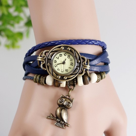 New Relojes Mujer 2015 Fashion Women Casual Leather Weave Wrap Wrist OWL Watch Charm Bracelet Watches