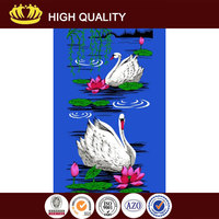 21s cotton velour reactive printed beach towel with white swan