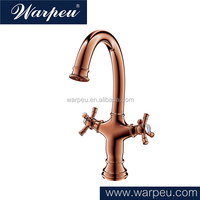Double Handle Rose Gold Plated Antique Brass Kitchen Faucet Retail Online Shopping