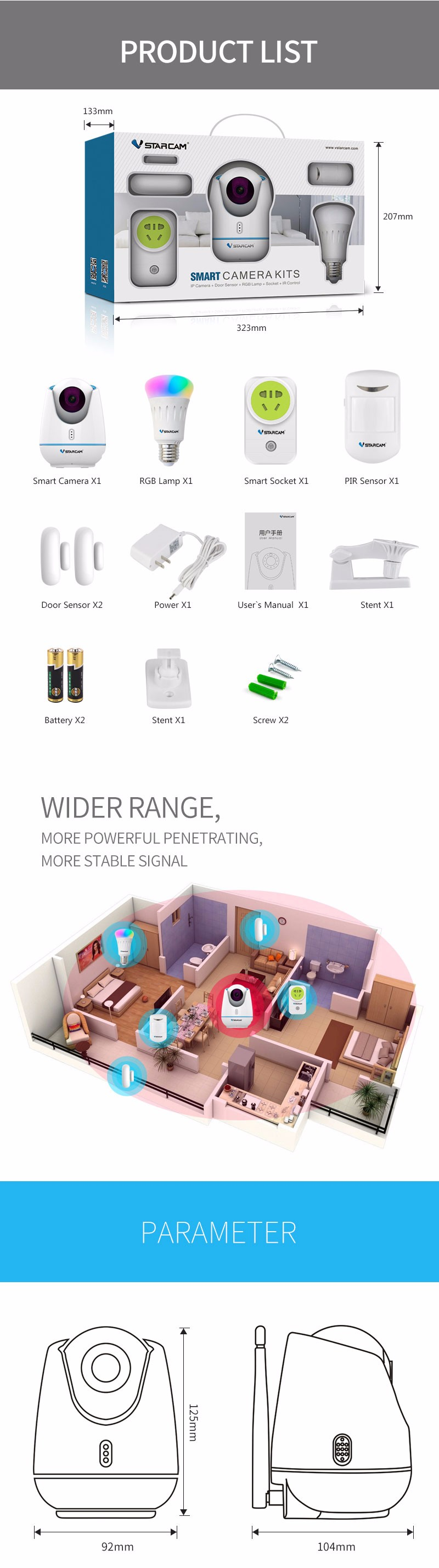 E27 SMART HOME Kits WiFi RF Zigbee battery powered wireless ip camera kits