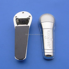 Personalised shiny silver metal fridge magnet voice tube/microphone shape bottle opener for promotion