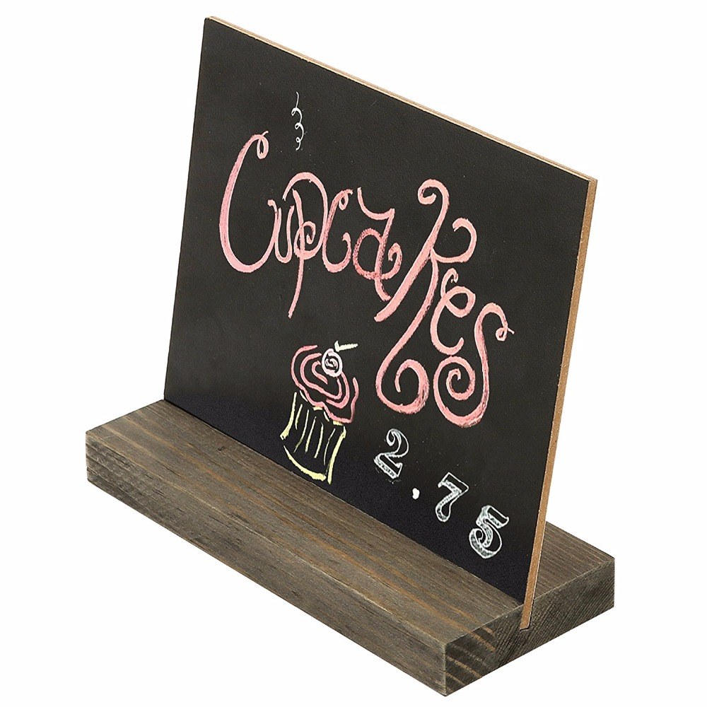 Vintage Style Pine Wood Bese Stand Mini double side Chalkboard Signs ,Set of 4