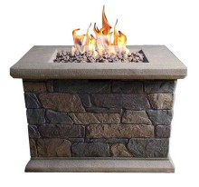 Garden Natural Outdoor Heater Glass Propane Gas Fire pit Firepit Table with Burners