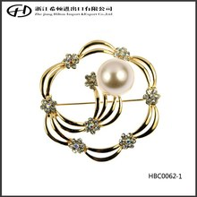 Series flower making vintage pearl brooch with crystal gold plated