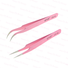 Low price sharp pointed eyebrow cosmetic extension tweezers pink color