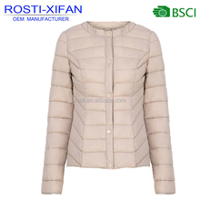 Spring Women Ultra Thin Light Artificial Foldable Duck Down Jacket Without Hood