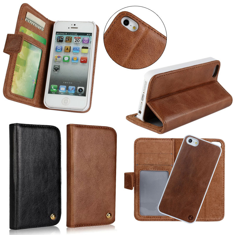 Retro Genuine leather wallet case for HTC M8 detachable