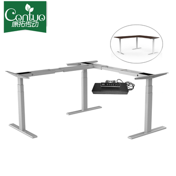 Modern 3-Leg Height-Adjustable Sit Stand Metal Desk Frame Standing