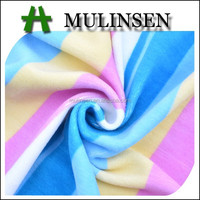 Mulinsen textile knitted polyester plush soft velvet rainbow coloured fabric