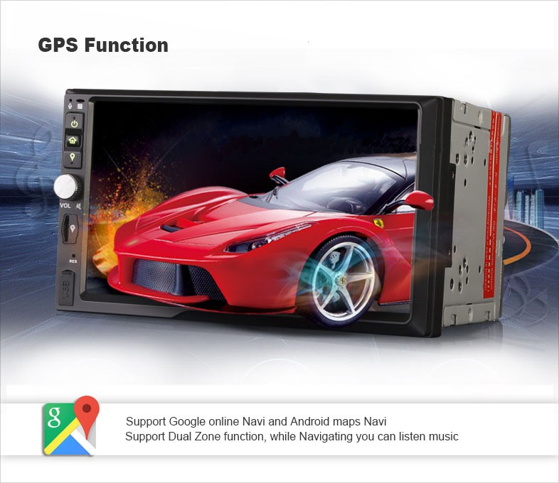 7'' 2din android5.1.1 quad-core universal car radio with 2G RAM+16G flash,built-in WiFi &3G DY7092