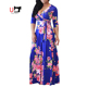 Factory Direct Sales Plus Size Long Sleeve Maxi Floral Dresses Women Lady