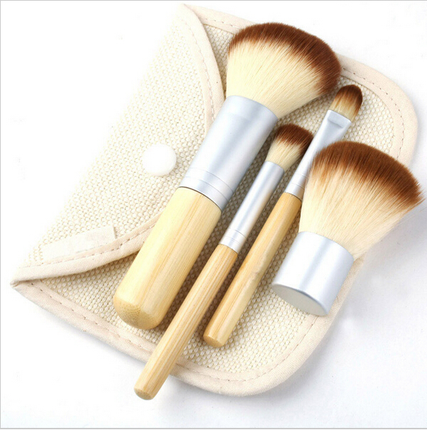 4pcs/set Earth Friendly Professional Cosmetics Tools Pinceis Brush Bamboo Makeup Brushes Sets Pincel Maleta Kit De Maquiagem