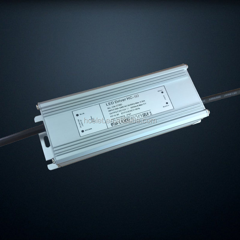 high quality PF>0.95 12V4A triac dimmable waterproof led driver