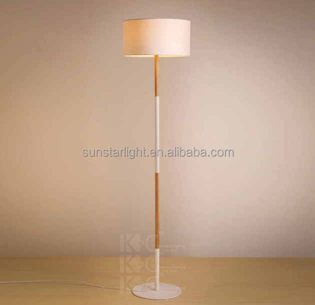 Simple Plain Cylindrical Fabric Metal Wood Restaurant Floor Lamp