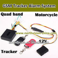 Motorcycle GSM Car Alarm system with Tracker, 850/900/1800/1900MHz, lock vehicle, Remote ignition,with speaker