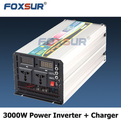 Foxsur Hot selling 3000W business industrial 12V 110V UPS Modified off grid Solar panel with charger Pure Sine Wave Inverter