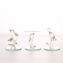 Glass Dolphin with mirror for decoration glass animals ornament