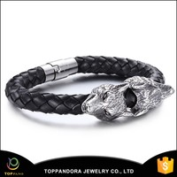 Wholesale 316L Stainless Steel Skull Genuine Leather Bracelet/High Quality Biker's Jewelry Skull Leather Bracelet