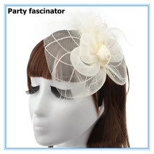 Fashion women wedding bridal hair accessories lace feather fascinator flower headband