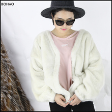 Wholesale Luxurious Fashion Winter white faux mink fur coats