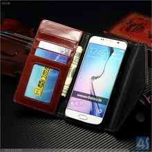 Genuine PU Leather Flip Wallet Slim Case Cover Pouch for Samsung Galaxy S6 Edge Wallet Case with card holder