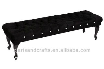 4410 living room ottoman ( Black Velvet ottoman with acrylic diamond buttons and turned wooden dark brown legs)