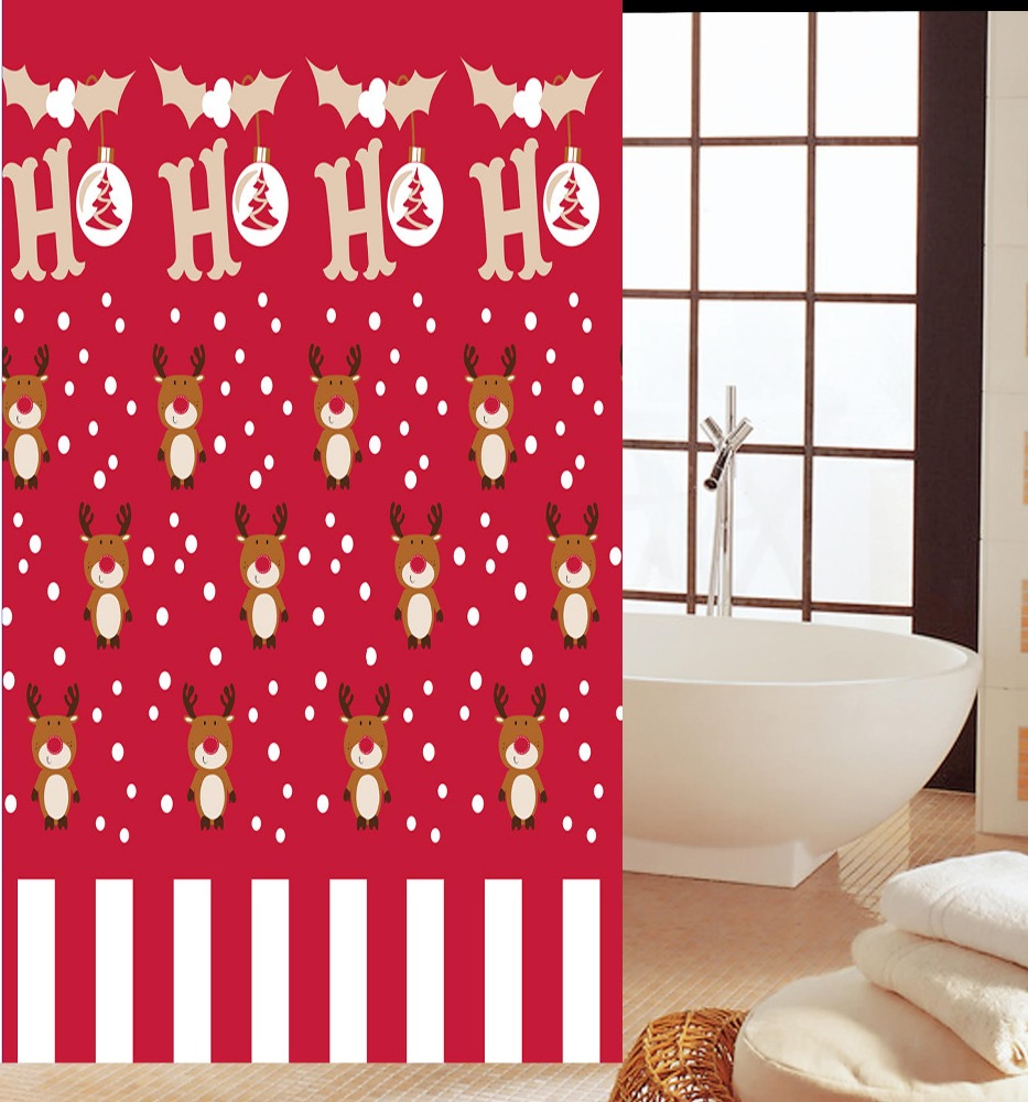 Hot selling new Christmas pattern PEVA shower curtain
