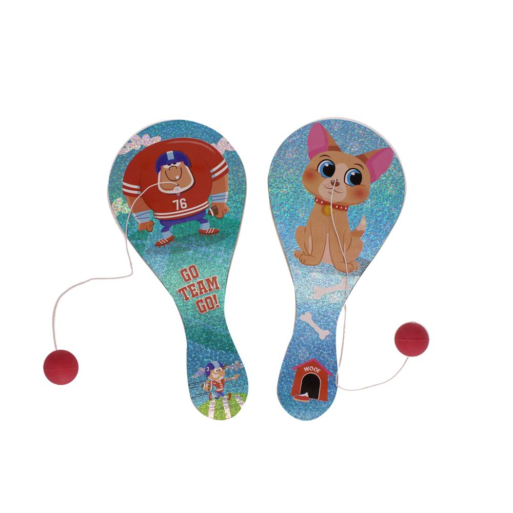 Double Sided Laser Wooden Bounce Back Paddle Ball Game