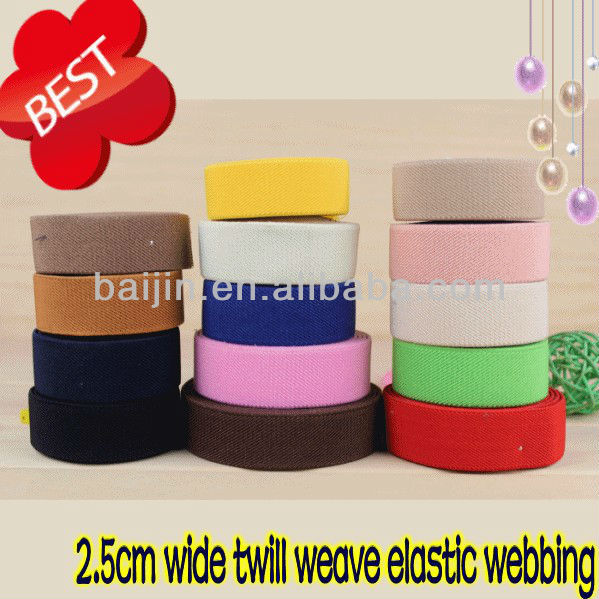2.5cm wide pure colored twill weave elastic webbing