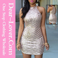 Customized 2016 graceful mature wholesale Sexy Sparkling Sequin Bodycon Bandage Dress