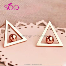 Dazzling pink jewel triangular hollow stainless steel girls material pearl earring