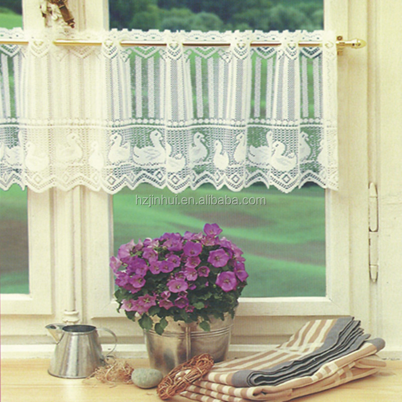discount fancy lace window curtain and Polyester lace kitchen curtain for windows