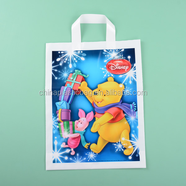Custom animal print biodegradable shopping plastic bags for disney style decoration