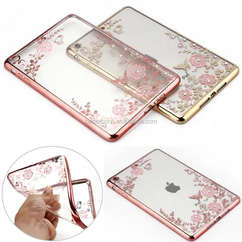 Soft TPU Transparent Case Cover For iPad Mini 2 3 4 iPad 6 Gold Rose Gold Flower