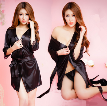 Japanese Women Sexy Satin dress Lace Trim Satin Kimono Robe Chemise lingerie