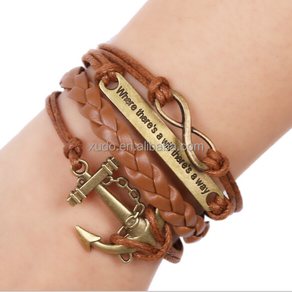 womens/mens leather bracelet letter anchor leather straps bracelet