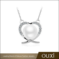 OUXI 2016 fashionable rhodium plated AAA zircon heart charm necklaces pearl jewelry set 11479