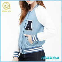 Custom Girls Long Sleeves Denim Varsity Jackets