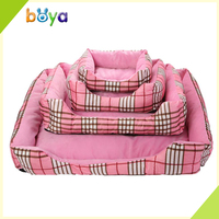Fashion customized pink grid large dog beds