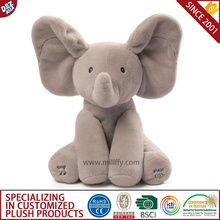 Electrical musical toy ANIMATED elephant singing plush PEEK A BOO baby child toy