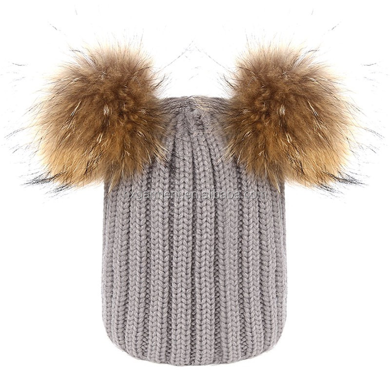 New Pompom Hat Women Winter Caps Knitted Wool Cotton Hat Two Pom Poms Skullies Beanies Bonnet Female Cap