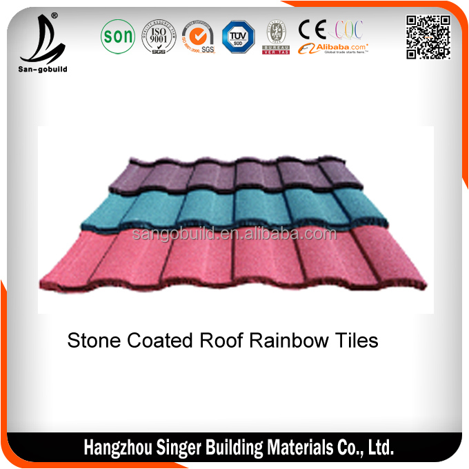 Cheap Colorful Corrugated Metal Tile / Stone Coated Copper Roof Shingle