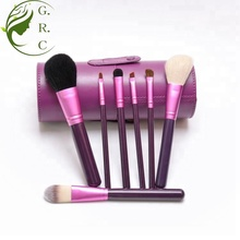Custom logo 7pcs cylinder purple shiny makeup brushes with goat hair and sybthetic hair