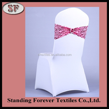 Fashion design shiny color sequin spandex chair sash with buckle