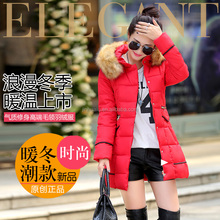 2016 new coming winter middle-long hollow cotton-padded slim thickening faux fur collar coats clothes jackets for women female